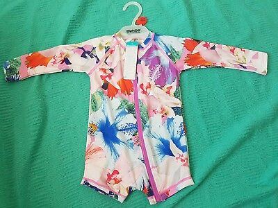 Bonds Baby Swim Toddler suit Pink Floral size 1 NWT 50 UPF