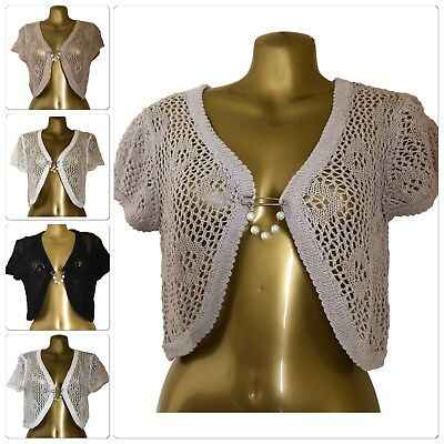 Floral Crochet Knit SHRUG with Pearl Clasp detail in 5 Colours - SIZES 8 -14