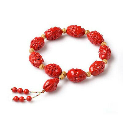Natural Red Cinnabar Carving Lacquer Chinese Eighteen Arhats Luohan Bracelet