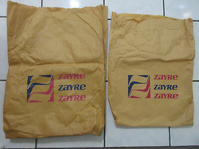 2 Vintage ZAYRE Large Brown Paper Shopping Bags 70s Department Store Advertising