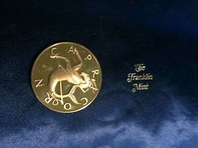 Franklin Mint Bronze Colored Zodiac Coin Capricorn