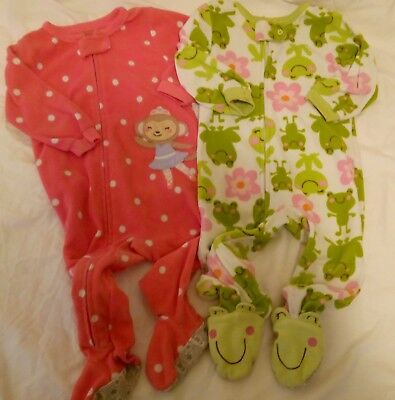 Carter's Baby Girls 12 months pink green pajama lot long sleeve frog monkey