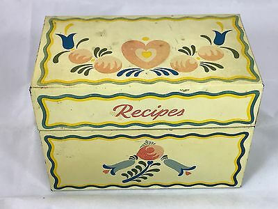 Vintage MCM Ohio Art Recipe Box full of Recipes on cards clippings ads