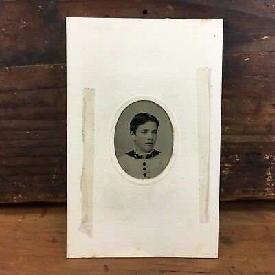 c.1870 SMALL TINTYPE PORTRAIT CDV NAMED & DATED VINTAGE PHOTOGRAPH ANTIQUE