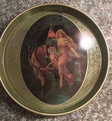Vintage Cheinco Metal Clysmic, King of Table Water Round Tray, Risque Lady Front