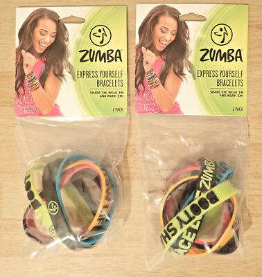 Zumba Express Yourself Bracelets 6 Pack (x2) Fitness Workout Accessories