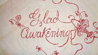 "Early Antique Turkey Red Work ""glad Awakening"" Embroidered Pillow Overlay Cover"