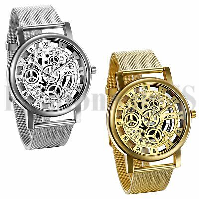 Men's Luxury Mechanical Skeleton Watch Quartz Steel Mesh Band Wristwatches Gift