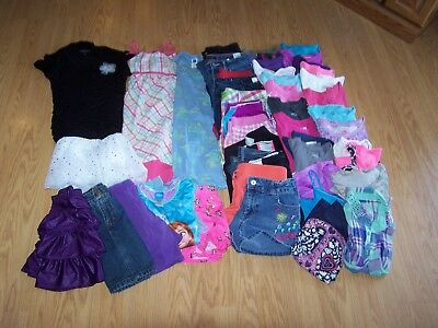 Girls Used Spring/Summer Clothing Size 10/12 Lot of 51 Items
