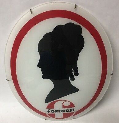 Rare Vintage Glass Foremost Dolly Madison Ice Cream Advertising Sign