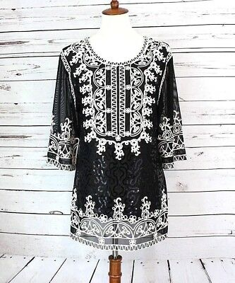 Simply Couture Women's Embroidered Black Tunic Top with Sequins Size Small