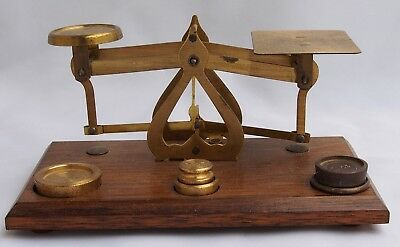 Vintage Made In England Brass Postal balance Scale with Brass Weights