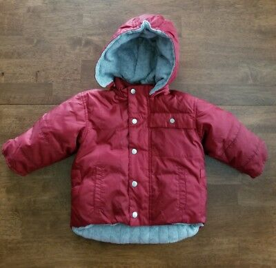 71d1897d87c4 BABY GAP INFANT Boys Jacket Coat Size 12-18 Months Red Maroon Hooded ...