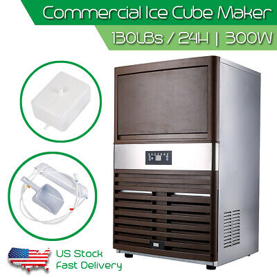 Automatic Commercial Ice Maker Stainless Steel Cube Ice Maker Machine 130lbs/24h