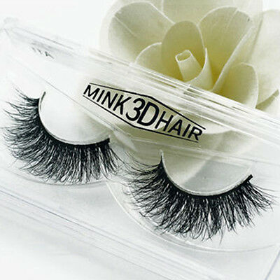 3D Mink Hair False Eyelashes Wispy Fluffy Long Thick Lashes Beauty Extension AU