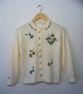 Charming Vintage 1950s Hand Embroidered Cardigan Sweater SWEET!