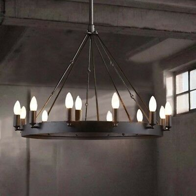 Industrial Wrought Iron Chandelier Pendant Light Lamp Round Barn Ceiling Fixture