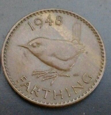 Great Britain, UK Farthing 1948. Quarter penny coin Bird 1/4 Cent Coin George VI
