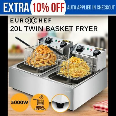 NEW EURO-CHEF Commercial Electric Deep Fryer Twin Frying Basket Chip Cooker Fry