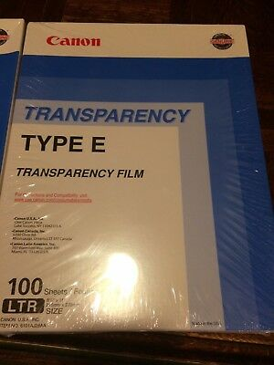 """Canon Transparency Film 100 Sheets Type E 8.5"""" X 11""""sealed 100 sheet box"""