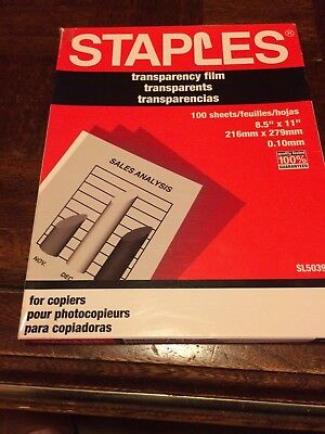 Staples Transparency Film New in Sealed Box 100 Sheets Copiers #5039 3M Xerox