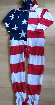 d0305b8c3091 Forever Lazy Fleece Footed Adult American Flag JumpSuit w Pockets -Unisex  Sz S