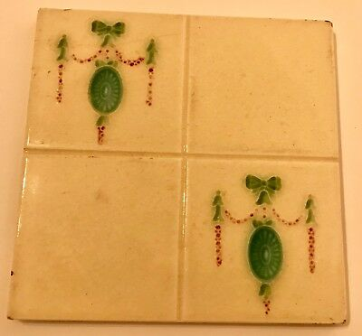 Antique Stamped Collectable Ceramic Architectual Tile - Cream With Green Motif