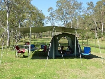 Tarpaulin -Durarig - 4.65M x 4M, plus Steel adjustable poles and Guy ropes ONLY