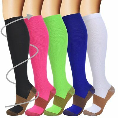 1-3 Pairs Copper Compression Socks 20-30mmHg Graduated Support Men Women