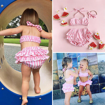 Girls Kids Bubble 2Pc Bikini Swimsuit Swimwear Pink Summer Bathers Swimmers
