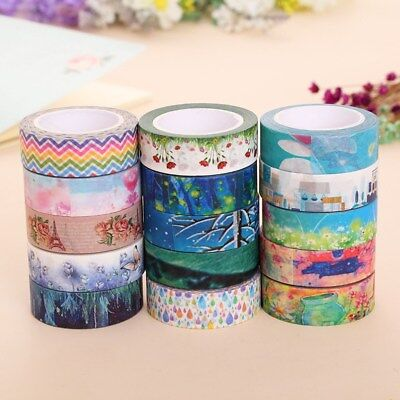 16X Rolls Washi Masking Tape Set Decorative Craft Tape Collection for DIY Gift