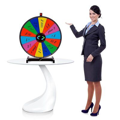 """24"""" Heavy Duty Tabletop Spinning Prize Wheel 14 Slots Color With Dry Erase EK"""