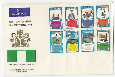 K2022 Nigeria First Day Cover, 10 years Indepence; 1970; full set with card