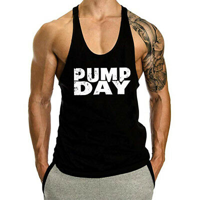 68cda46814ae4 Mens Gym Tank Tops Muscle Stringer Bodybuilding Workout Sleeveless Gym  Shirts