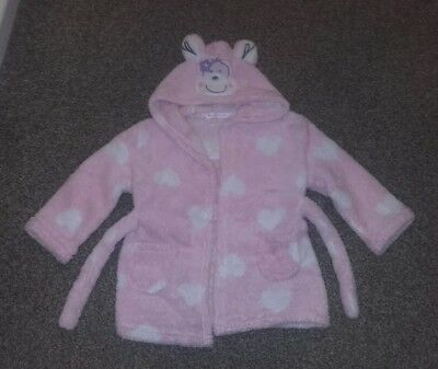 baby girls pink dressing gown 18-24 months monkey