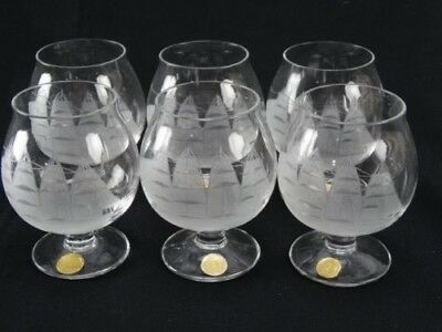 Magnificent Hand Etched Crystal Balloon Brandy Glasses Set Of 6