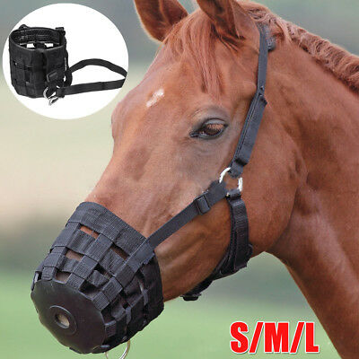 Horse Safety Grazing Muzzle Mouth Cover Halter Prevent Founder Slows Eating Size