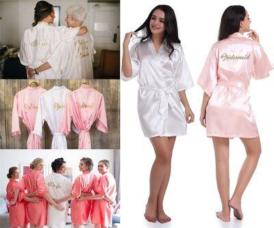 Satin Silk Personalized Wedding Robe Bridesmaid Bride Mother Dressing Gown S-XXL