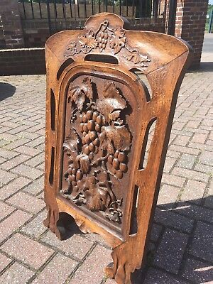 Exceptionally carved Victorian Oak fire screen arts and crafts simply beautiful