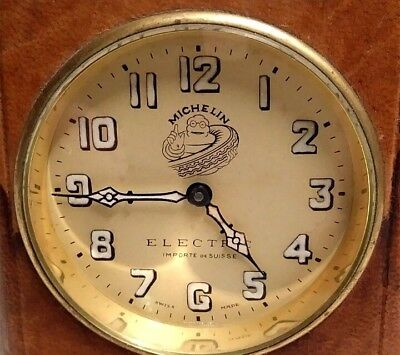 1930s Michelin Electric travel clock swiss made leather case table