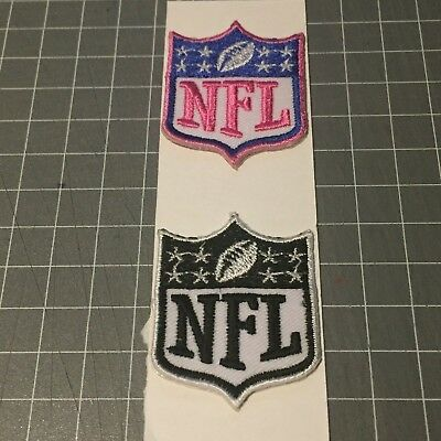 NFL Logo WHITE/BLACK + WHITE/PINK 4.5x3.5 Embroidered Iron On Patch set of 2