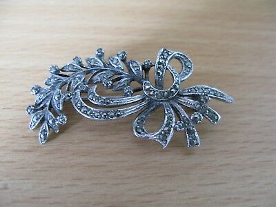 Beautiful vintage signed BJL floral brooch in silver metal and marcasite stones