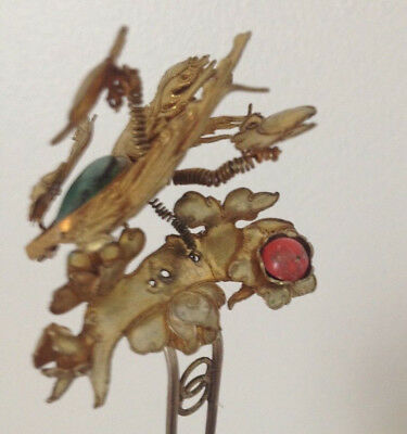 Antique Chinese Gold Tone Brass Hair Stick Ornament Trembler Wings Hair Pin