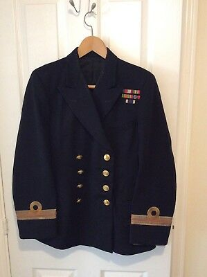 Vintage Royal Navy Officer Lieutenant uniforms x 2 and Cap 1956 issue.