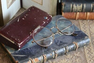 A Pair of Vintage French Round Spectacles Glasses in a case