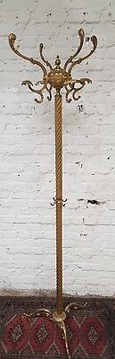 Vintage French ornate brass standing coat & hat stand rack