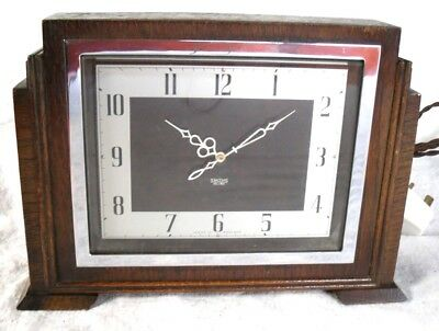 Art Deco 1930s Smiths Sectric Electric Wooden & Bakelite Mantle Clock,Restored