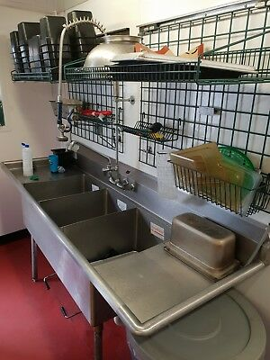 Commercial Sink and Rack Stainless Steel Restaurant Catering including Spray Arm