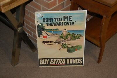 WW2 1944 US Poster USMC MARINE Don't Tell Me The Wars Over Buy Extra Bonds