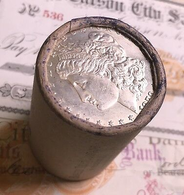 1879 & cc Ends On This Shotgun Roll Of Morgan Silver Dollars Unc Bu Nice Ends